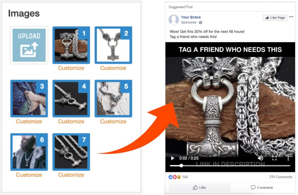 Niche-Scraper-Facebook-Video-Ad-Generator-Image-Selection-Order-Example-And-Example-Appearance-of-The-Generated-Ad-In-Facebook-NewsFeed