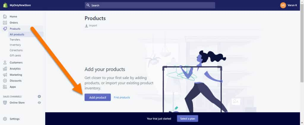 Adding-Products-To-Your-Shopify-Store-Step-1