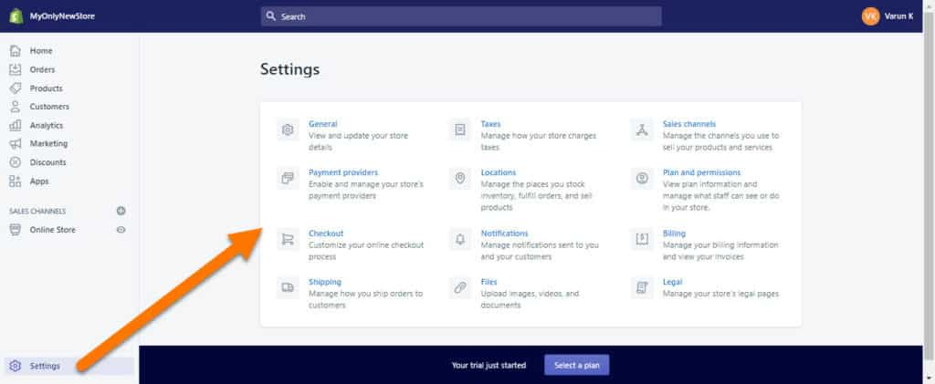 Shopify-Settings-Page