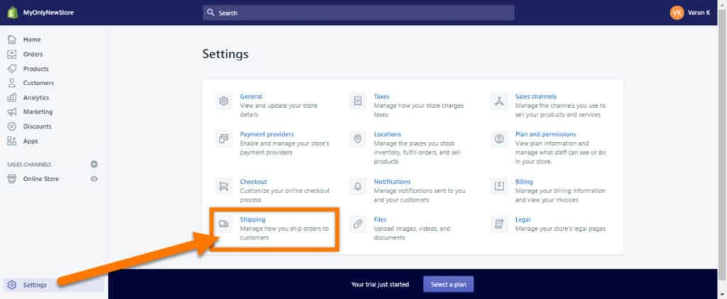 Shopify-Shipping-Settings-Page-Location