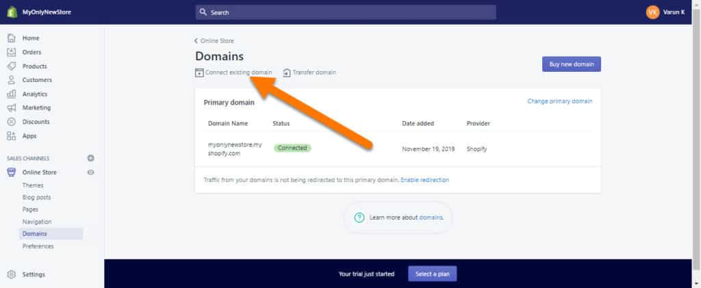 Shopify-Store-Connect-Existing-Domain-Step-1