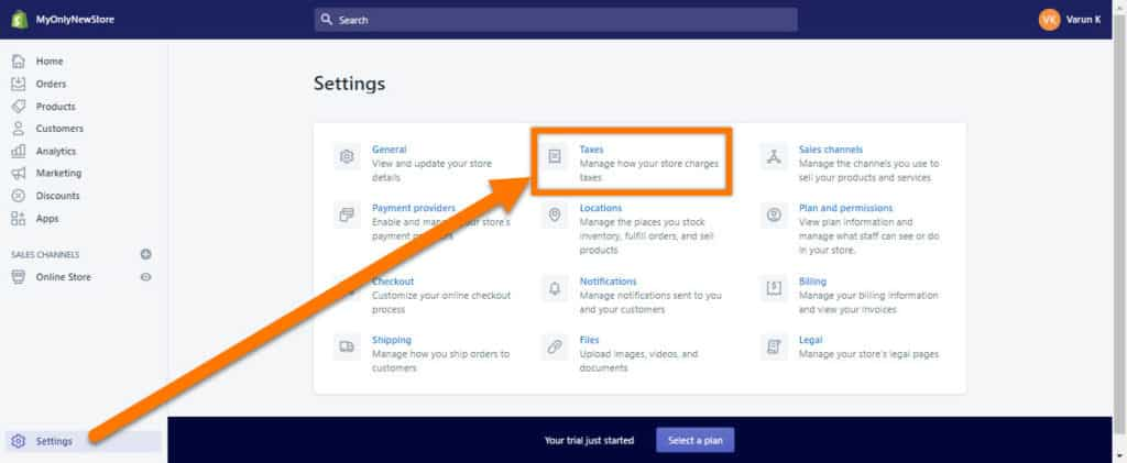 Shopify-Tax-Settings-Page-Location