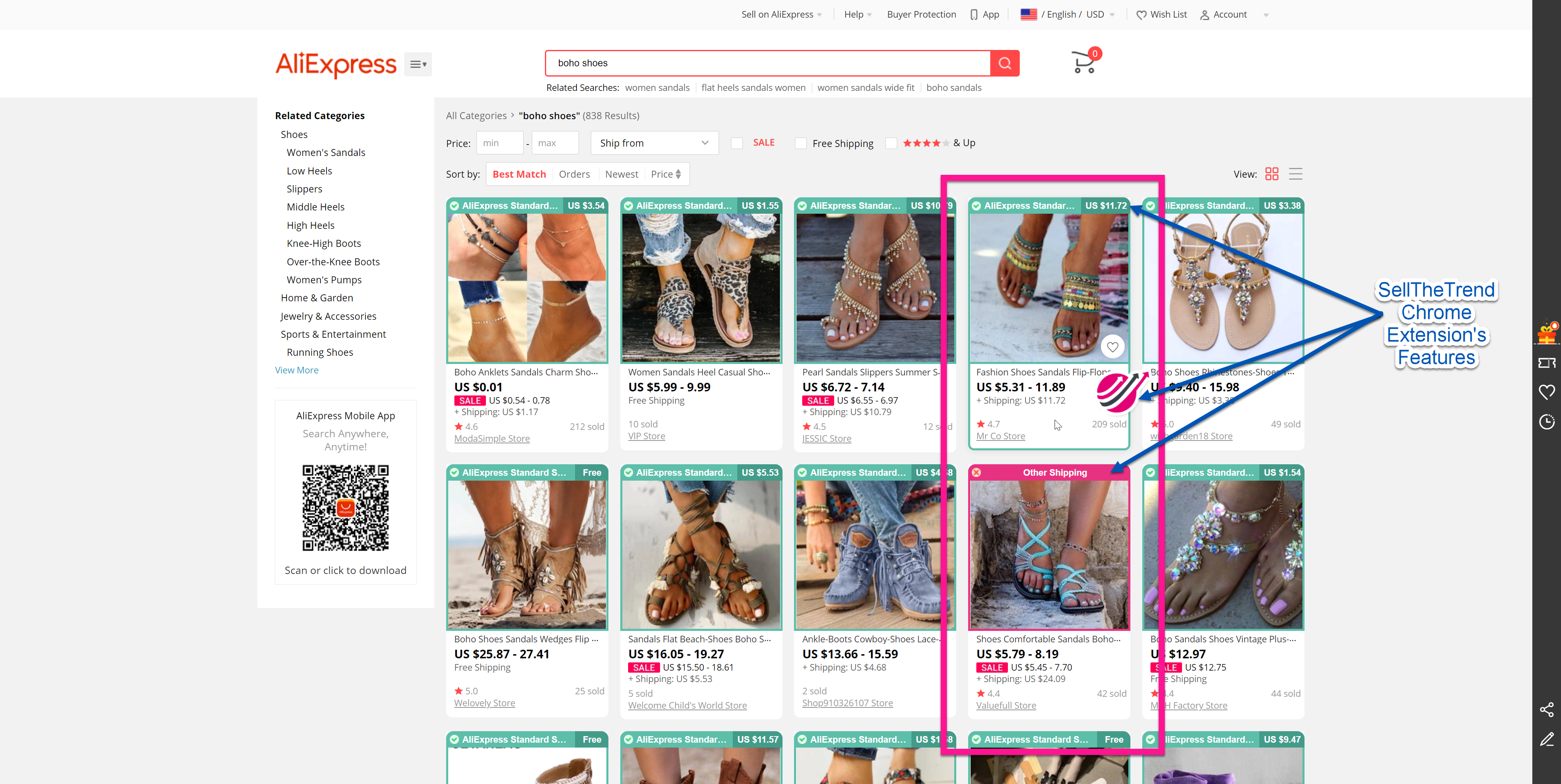 SellTheTrend - Chrome Extension Active on Aliexpress Website