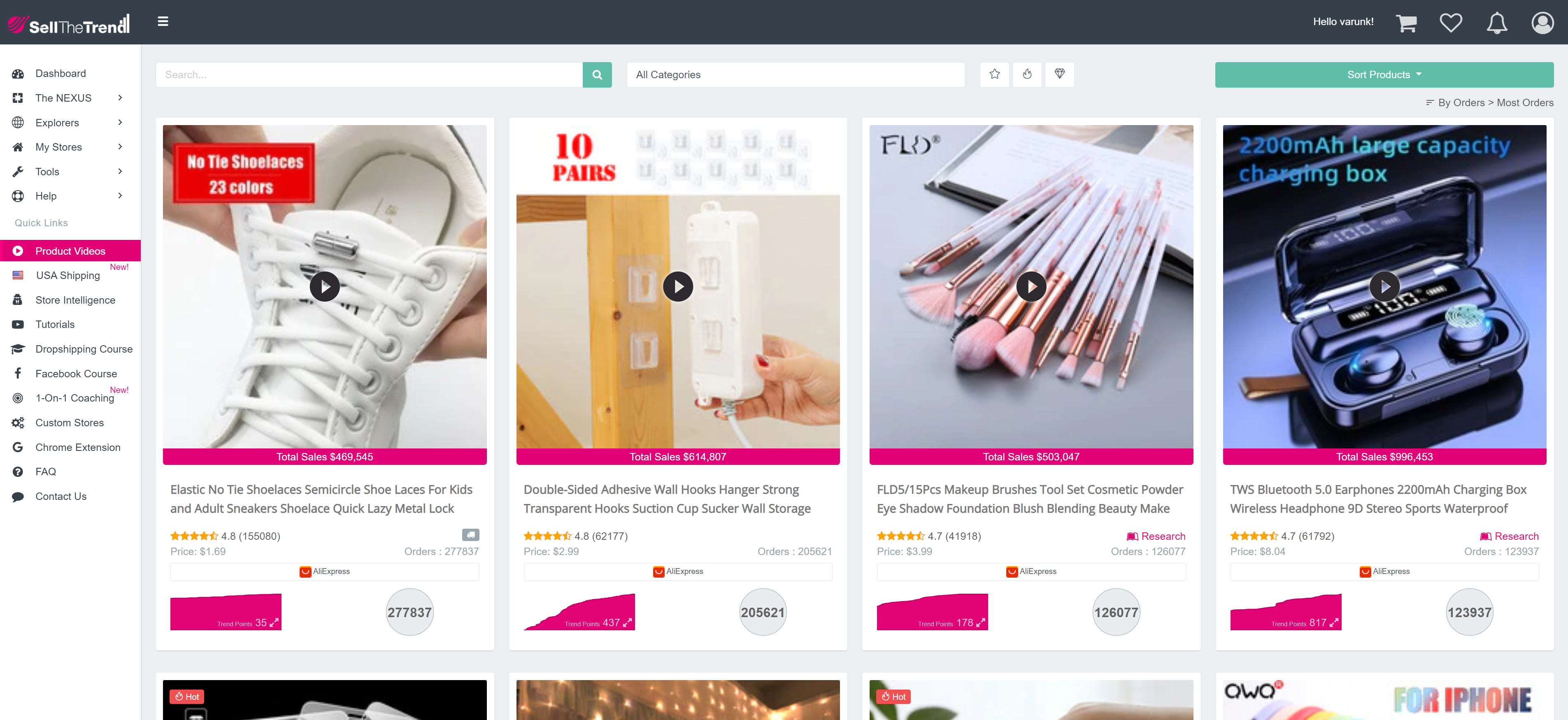 SellTheTrend - Product Videos Filter